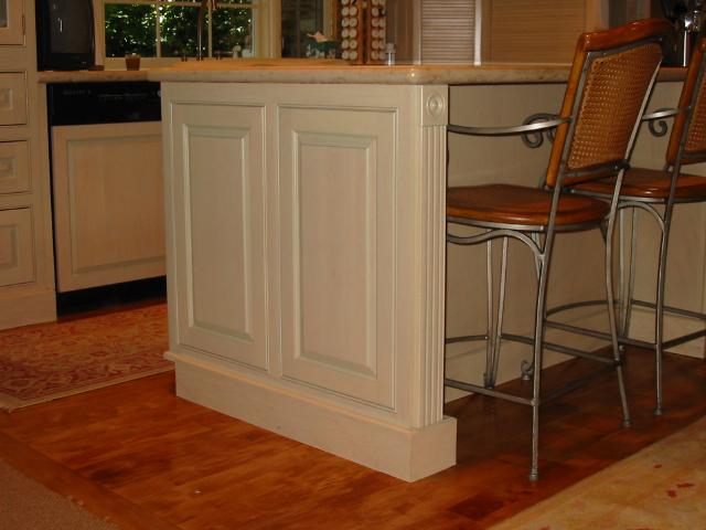 superior Panels For Kitchen Island #4: White Kitchen Island With Antiqued Mirrored End Panels